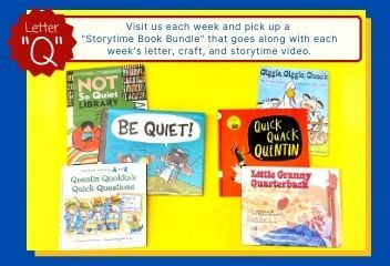 Photo of 6 picture books with the letter theme Q